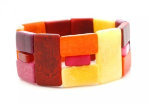 Colorful, fair trade cuff handmade from tagua nut in Colombia.