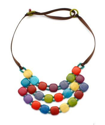 "Fair trade, 3-strand necklace of colorful tagua ""buttons""."