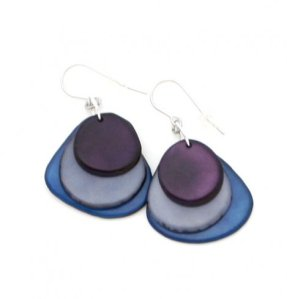 Fair trade earrings from Colombia handmade from rainforest tagua seed.