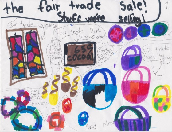 Student flyer for fair trade sale.