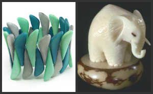 tagua cuff and tagua elephant figurine